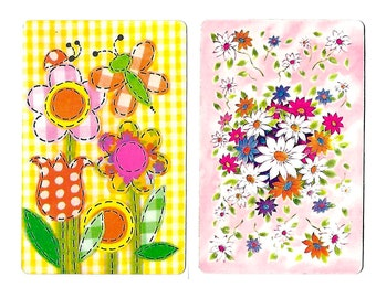 2 Vintage 1960s Flowers Swap Cards Floral Playing Cards Crafts Altered Art Assemblage Collage Scrapbooking