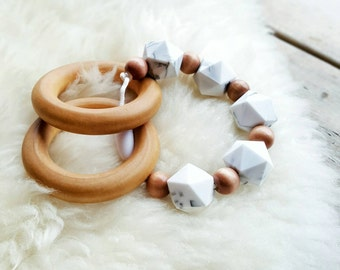 Teething Ring, Marble Silicone Teether, Wooden Teether, BPA Free Teether, Silicone Bead Teether, Baby Teether, Baby Shower Gift