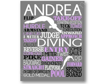 Personalized Diving Poster, Diving Typography Art, Gift for Diver, Diving Team Gift, Dive Team Gift, Dive Coach Gift, Competitive Diving Art