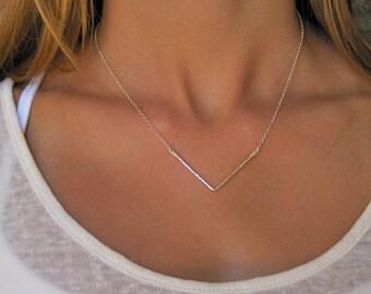 Silver Chevron Necklace - Geometric Jewelry - Chevron Jewelry