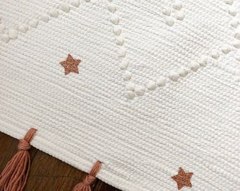 Rug 100% recycled cotton and her wool fringe