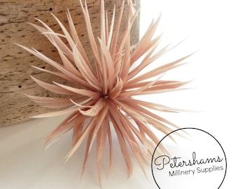 Goose Biot Feather Pom Hat Mount for Millinery, Fascinators & Hats - Latte