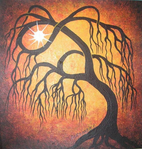 Golden weeping willow tree Original Acrylic painting Tree