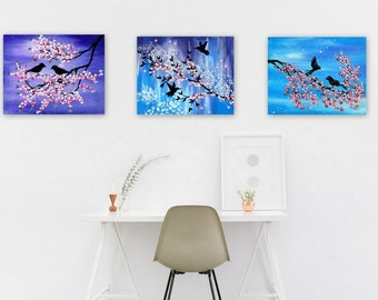 cherry blossom, cherry blossoms, sakura, modern paintings, abstract painting, abstract paintings, turquoise, and, purple, pink and blue,