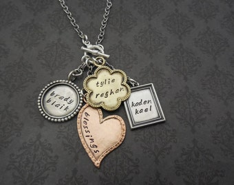 Hand Stamped Jewelry - Personalized Necklace - Gift for mom- Gift for Grandma - Say Anything Jewelry - Personalized Jewelry