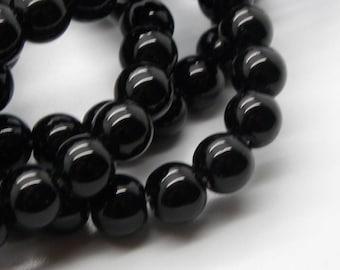 Jet 8 mm black amber black rare 20 stones