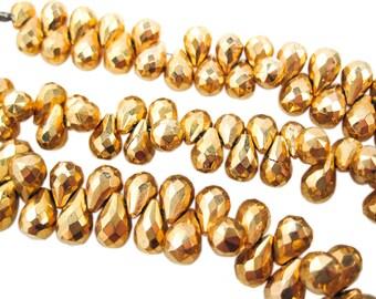 Gold Pyrite Beads, Pyrite Teardrops Beads, Teardrop briolettes, SKU 3544