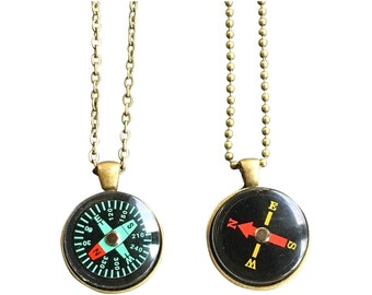 Working Compass Necklace  Bronze for a Man or Woman Minimalist Pendant Change in Direction