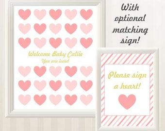 Heart Baby Shower Guest Book Alternative - Pink and Gold Baby Shower Guest Book with Hearts - Printable, Custom, Digital File