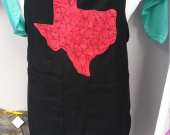 Texas Apron Black Canvas With Pockets and Barbed Wire State Appliqued