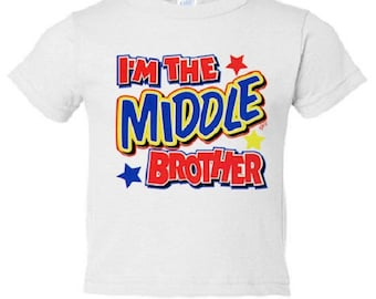 Middle Brother Shirt - Graphic Tee - Toddler - Boys Short Sleeve Cotton Tee