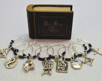 Once Upon a Time 8 Magical Wine Charms, For Your Own Storybrooke Enchanted Forest, Once Glass Jewelry, Once Upon a Time Glass Jewelry, Ouat