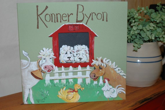 Barn Yard Baby Memory Book with Light Green Color