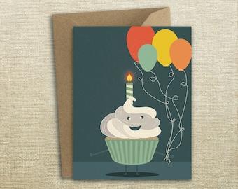 Happy Birthday Cupcake Fella Balloon Card