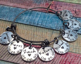 Mother's Day Gift for her, Personalized Grandma Bracelet, Mom Bracelet, Grandma Bracelet, Custom Jewelry, Custom Bangle, Grandma Gift, Mom