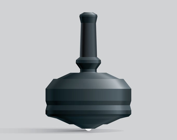 Leap 25G-1 Black spin top with single ceramic tip and integrated rubber grip