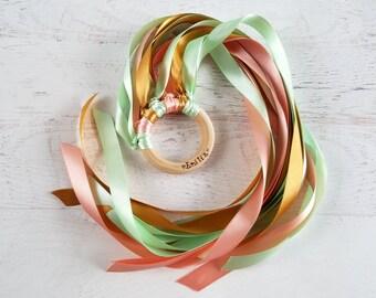 Waldorf Hand Kite | Kids Birthday Party Favors | Personalized Hand Kite | Montessori Toy | Ribbon Ring | Wedding Streamers | Pretend Play