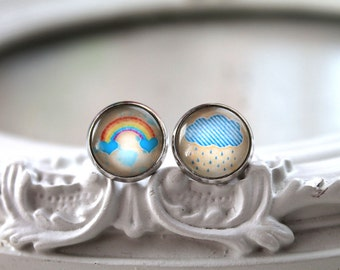 Pretty rainbow and rain cloud stud earrings sweet lolita feminine