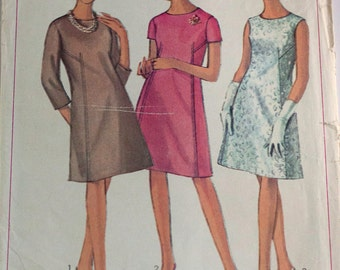 1960s ladies one-piece dress pattern Simplicity 6782 size 14 bust 34