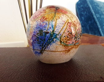 Studio Art Glass Paperweight Earl O. James Multi Colored Striations Dome Shape Hand Blown Glass