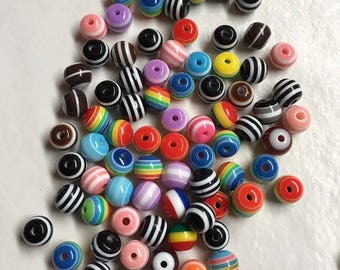 95 striped 8 mm acrylic beads