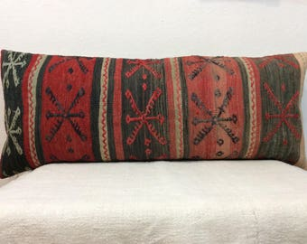 Vintage pillow cover,16x40 Pillow,Decorative pillow,pillow for bed,Bed size lumbar pillow,Red Black Pillows,Antique Kilim Pillow Cover