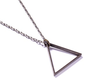 Triangle Necklace - Men's Necklace - Mens Jewelry - Triangle pendant - Steel Tone Chain - Silver triangle - Geometric jewelry - gift for men