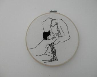 Egon Schiele Stitchery - The Lovers