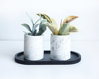 Two Concrete Mini Planters with marble pattern on black tray, for succulents, Desk and Home Decor, Black and White