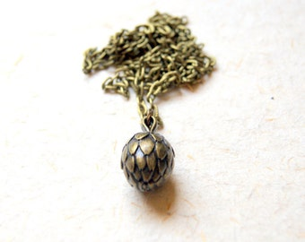 Artichoke Necklace - Vintage Antiqued Brass Artichoke Pendant