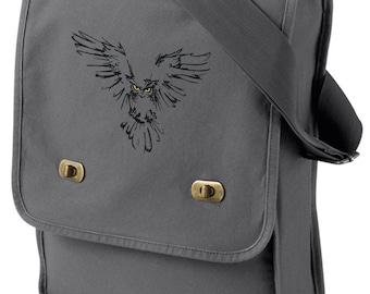 Owl Canvas Bag, Owl Field Bag, Owl Messenger Bag, Night Owl Embroidered Canvas Field Bag