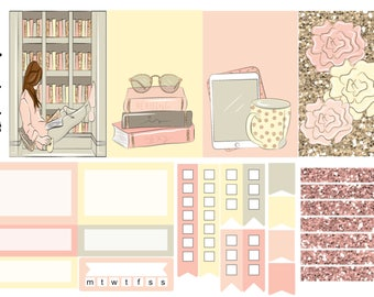 Bookworm, one sheet, weekly kit, planner stickers, - full box, half box, happy planner, erin condren, matte, glossy, mini kit weekly