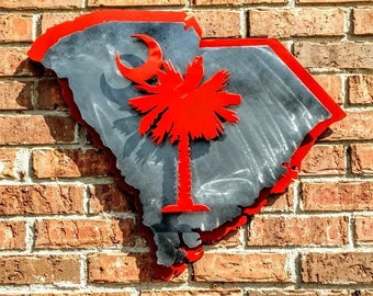 3-D SC State Metal Decor, SC State with Palmetto Tree, Palmetto Tree with Crescent, 3-D Metal Art,