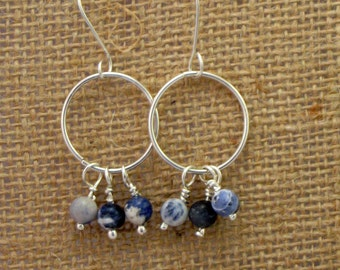 Sterling Silver Hoops with Sodalite Beads