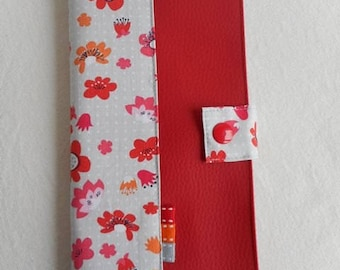 CASE for family and Red cotton faux printed floral gray
