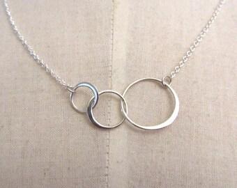Verbunden Kreis Sterling Silber Halskette - Silber-Kette 16 Zoll