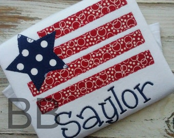 Applique Flag Shirt, Personalized Old Glory Shirt, Girls July 4th Shirt, Independence Day Shirt, Red White and Blue Shirt