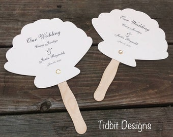 Shimmery Sea Shell Wedding Paddle Fans Programs / Favors / Special Events