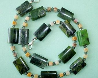 Gemstone Jewelry Necklace - Chrysophrase, Crazy Lace Agate and Swarovski Gemstone Beaded Necklace