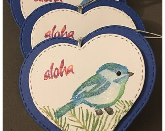 Handmade Watercolored Gift Tags Hawaiian Bird Aloha Sapphire Blue Heart Valentines Day Easter All Occasion Party Favor set of 4