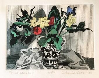 large floral etching - still life aquatint - Sherrie Wolf - daffodils tulips iris - original artwork - framed wall decor