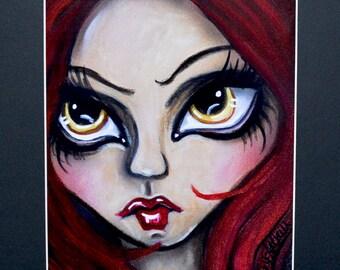 Big Eyed Girl Art Print 11x14