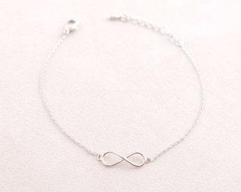 Silver plated Infinity bracelet infinity sign life jewelry, woman minimalist trendy gift