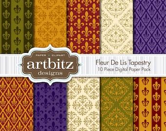 "Fleur De Lis Tapestry 10 Piece Digital Scrapbooking Paper Pack, 12""x12"", 300 dpi .jpg, Instant Download!"