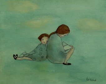 "Sisters art print/little girl's room decor/mother and daughter art print/mom and little girl wall art ""Stories - Mae and Bebe"""