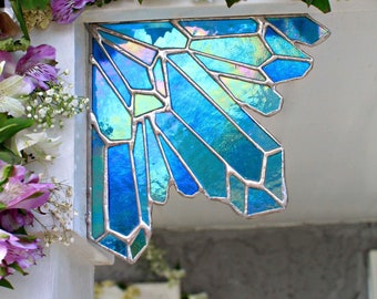 Aura Mermaid Crystal Cluster stained glass corn piece, stained glass, crystals, quartz, home decor, unique gifts, glass art, accents,cool