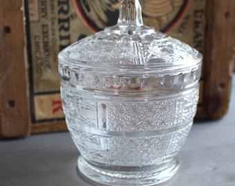 Vintage candy jar glass - Vintage candy bowl - Vintage glass decorative pot - Orange Rétro
