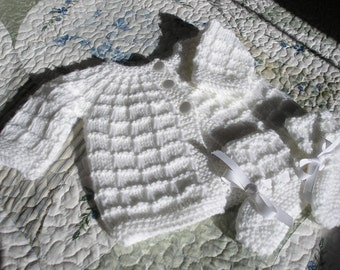 Knitted Baby Sacque and Booties - White