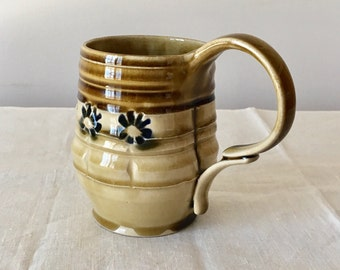 Ceramics and Pottery. Brown and Blue Ceramic Mug. Wheel Thrown Pottery. Floral Pottery Flower Ceramics. Unique Ceramics. Original Thrown Mug