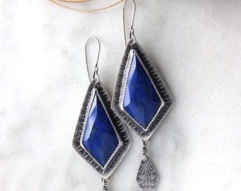 True Blue, Reciprocation Earrings.......….. sterling silver. lapis set stone dangle earrings